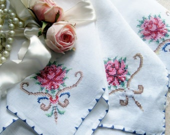 Bulk Linen Napkins with Cross Stitch Rose, Nine Napkins/Lapkins, Doilies, Shabby French, Wedding Supplies, by mailordervintage on etsy