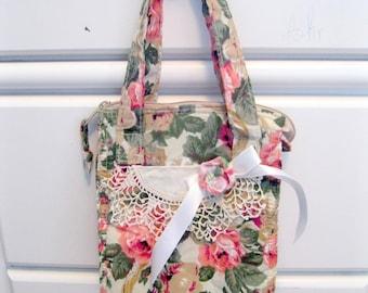 Sac à collation sandwich, sac en tissu Roses, roses et le sac à lunch dentelle, sac à lunch imperméable à l'eau, shabby français accessoire, par mailordervintage