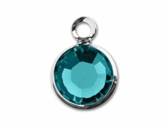 4 December birthstone 6mm charms blue zircon silver plated