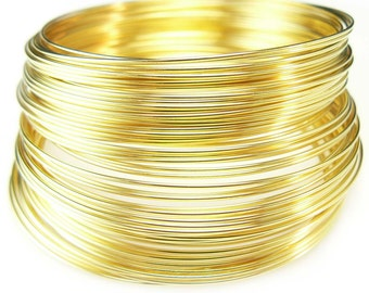 2 inch gold plated stainless steel  bracelet memory wire, 12 loops