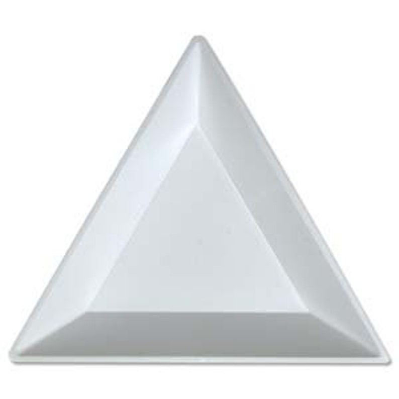 Tri-tray white plastic triangular beading trays set of 3 image 0