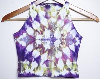 Psychedelic Shibori Crop Top - Size Medium - M