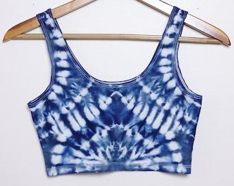 Psychedelic Shibori-Dyed Sport Crop Top - Size Medium - M
