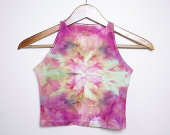 Psychedelic Ice-Dyed Crop Top - Size Medium - M