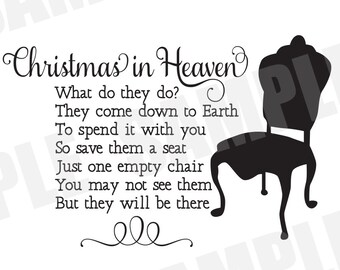 Christmas In Heaven Poem Svg.Christmas In Heaven Svg Etsy