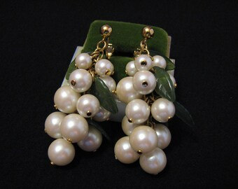 """Vintage Avon 1992 """"Pearlesque Dangle"""" Gold Tone White Faux Pearl and Green Lucite Leaf Beaded Cluster Clip Earrings"""
