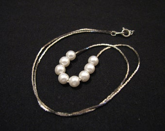 Vintage Silver Tone White Faux Pearl Beaded Necklace