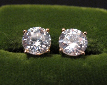 Vintage Sterling Silver Gold Plated Round Cubic Zirconia Diamond Stud Post Pierced Earrings 6mm
