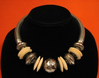 BIG Vintage Native American Navajo Hammered Sterling Silver and White Bone Disc Bench Beaded Collar Choker Torque Necklace