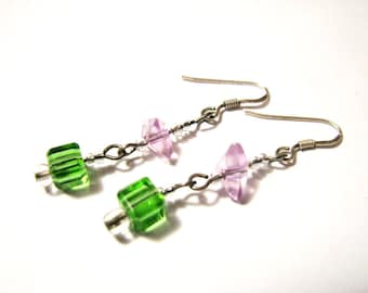 Vintage Sterling Silver Green and Purple Crystal Glass Stone Beaded Dangle Pierced Earrings