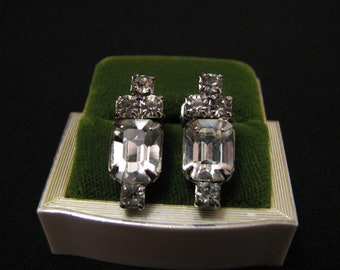 Vintage Silver Tone and Diamond Rhinestone Cluster Clip Earrings