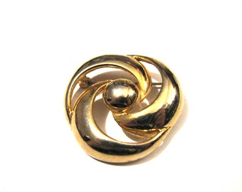 Vintage Heavy Gold Tone Round Swirled Pin Brooch