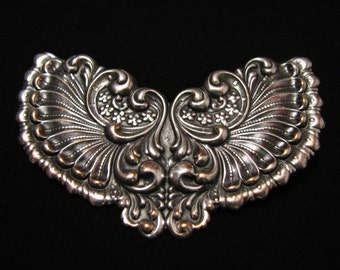 HUGE Antique Victorian Silver Plated Repousse Scrolled Floral Wings Pin Brooch
