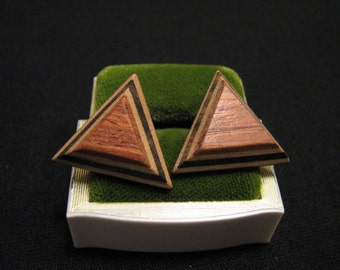 Vintage Modernist Geometric Layered Wood Triangle Pierced Earrings
