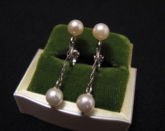 Vintage Silver Tone and White Faux Pearl Chain Clip Earrings