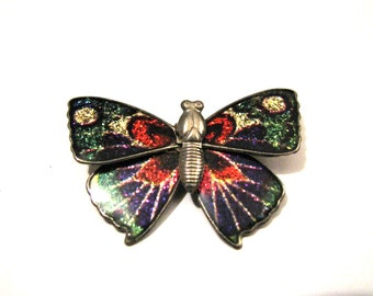 Vintage Rainbow Glitter Enameled Butterfly Pin Brooch