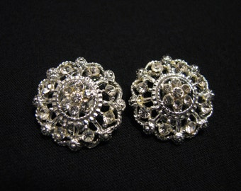 Vintage Round Silver Tone and Diamond Rhinestone Flower Cluster Clip Earrings