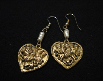 Vintage Gold Tone and White Faux Pearl Beaded Filigree Heart Dangle Pierced Earrings