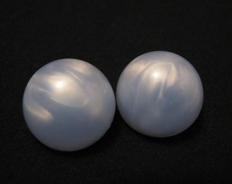 Vintage Round Light Blue Thermoset Moonglow Lucite Bubble Clip Earrings