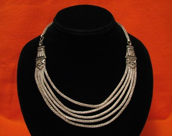 Antique Tribal Sterling Silver Byzantine Woven Multi Chain Bib Choker Necklace