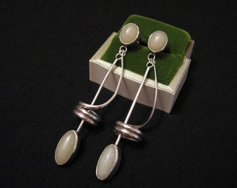 BIG Antique Navajo Sterling Silver and White Moonstone Swirled Musical Note Dangle Pierced Earrings