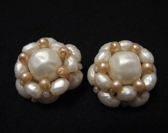 Vintage White Faux Pearl Beaded Round Cluster Clip Earrings