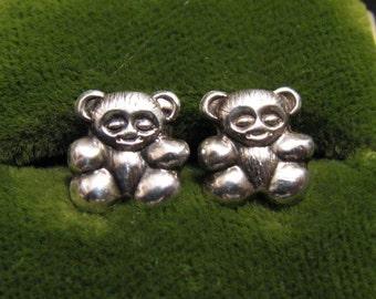 Vintage Sterling Silver Teddy Bear Stud Post Pierced Earrings