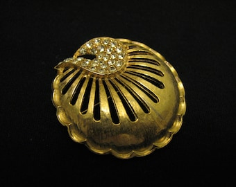 Vintage Round Gold Tone Diamond Rhinestone Puffy Pin Brooch