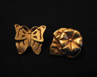 Vintage Gold Tone Butterfly and Flower Lapel Pin Brooch Set