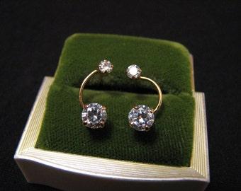Vintage Sterling Silver Gold Plated Cubic Zirconia Diamond Pierced Earrings