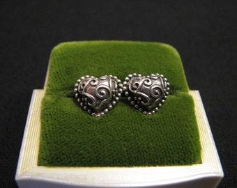 Vintage Jezlaine Sterling Silver Puffy Filigree Swirled Heart Pierced Earrings
