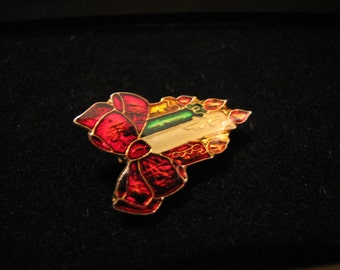 Vintage Gold Tone Rainbow Enamel Red Bow Christmas Candles Pin Brooch