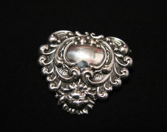 Antique Victorian Sterling Silver Repousse Scrolled Floral Heart Pin Brooch