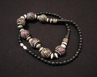 Vintage Black Wooden Swirled Rainbow Bead Ball Necklace
