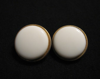 Vintage Round Gold Tone and White Milk Glass Clip Earrings