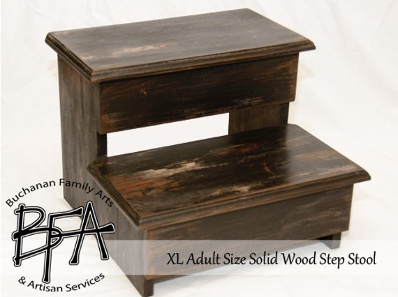 Tremendous Xl Adult Size Step Stool Black Distressed The Calico Ole Factory Hardwood Wood Kitchen Pantry Closet Bed Bathroom Ocoug Best Dining Table And Chair Ideas Images Ocougorg