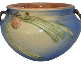Roseville Pottery Pine Cone Blue Hanging Basket 352-5