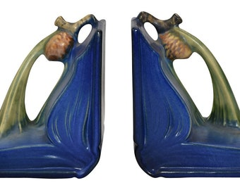 Roseville Pottery Pine Cone Blue Book Ends 1-4
