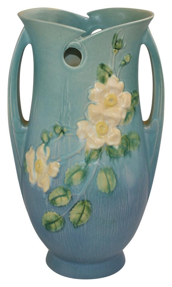 Roseville Pottery White Rose Blue Floor Vase 992 15 Etsy