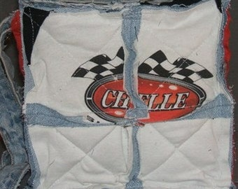 Quilted Rag Bag Recycled Denim Blue Jean Purse Chevelle T-Shirt