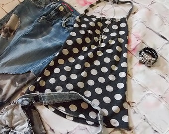 Black, White, Polka Dot, Halter Top, Tie Neck, Low Back, Scoop Neck, T Shirt Halter, Easy Wear, Boho, Gypsy, Hippie, Summer, Beach, X Small