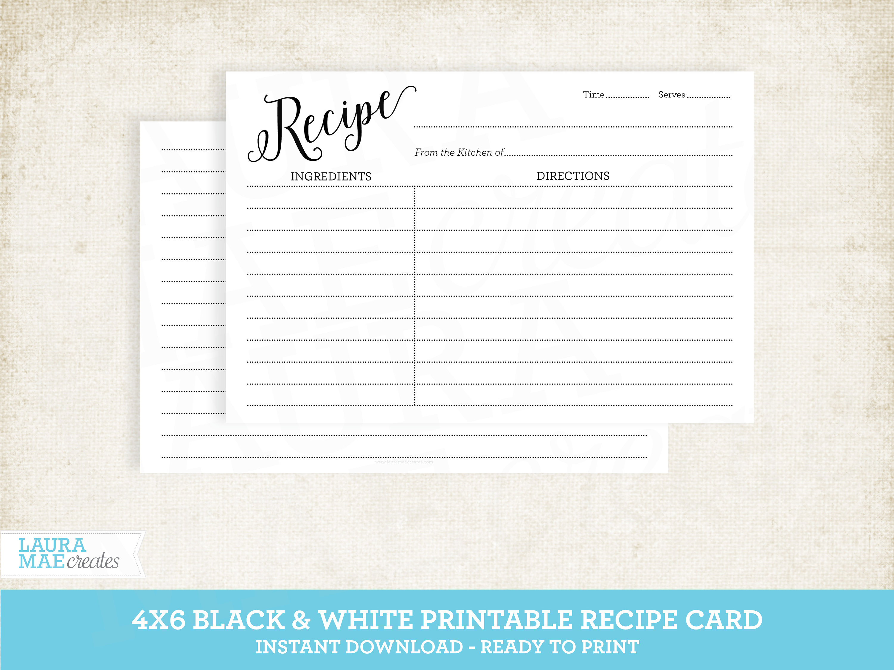 It is a graphic of Revered Printable Recipe Cards 4x6