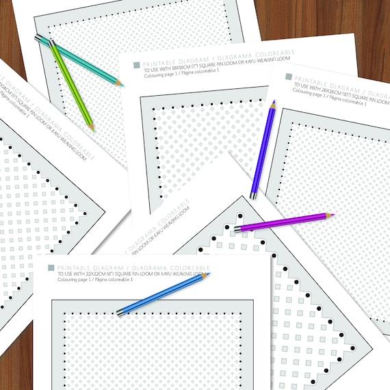 Diagrama imprimible telar bastidor cuadrado en 6 tamaños | Etsy