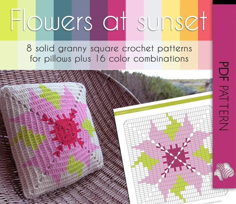 crochet flower patterns granny square afghan Flowers at sunset crochet color palette solid granny square crochet decor pattern