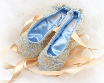 8f3f3fd9b Something Blue Wedding Flats Shoes Blue Ballet Flats Champagne Gold Ballet  Shoes Baby Blue Flats Ballet Slippers Bridal Shoes