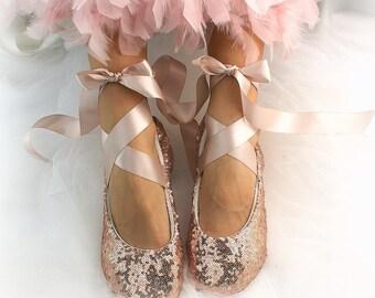 Gold Ballet Flats Etsy