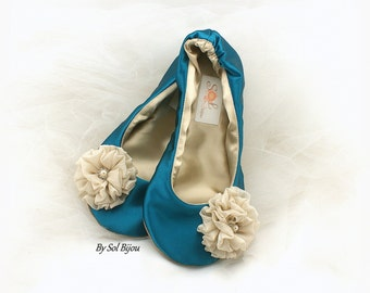 39abb54c70eab2 Teal and Gold Wedding Ballet Flats, Teal Ballet Shoes, Turquoise Wedding Flats  Shoes, Teal Satin Bridal Flats