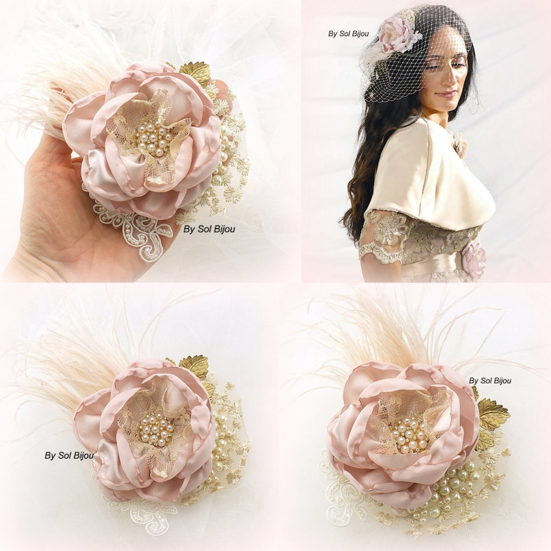 Wedding Flower Hair Clip with Feathers Vintage Style Wedding Hair Piece Bridal Hair Clip in Blush and Gold Elegant Hair Clip