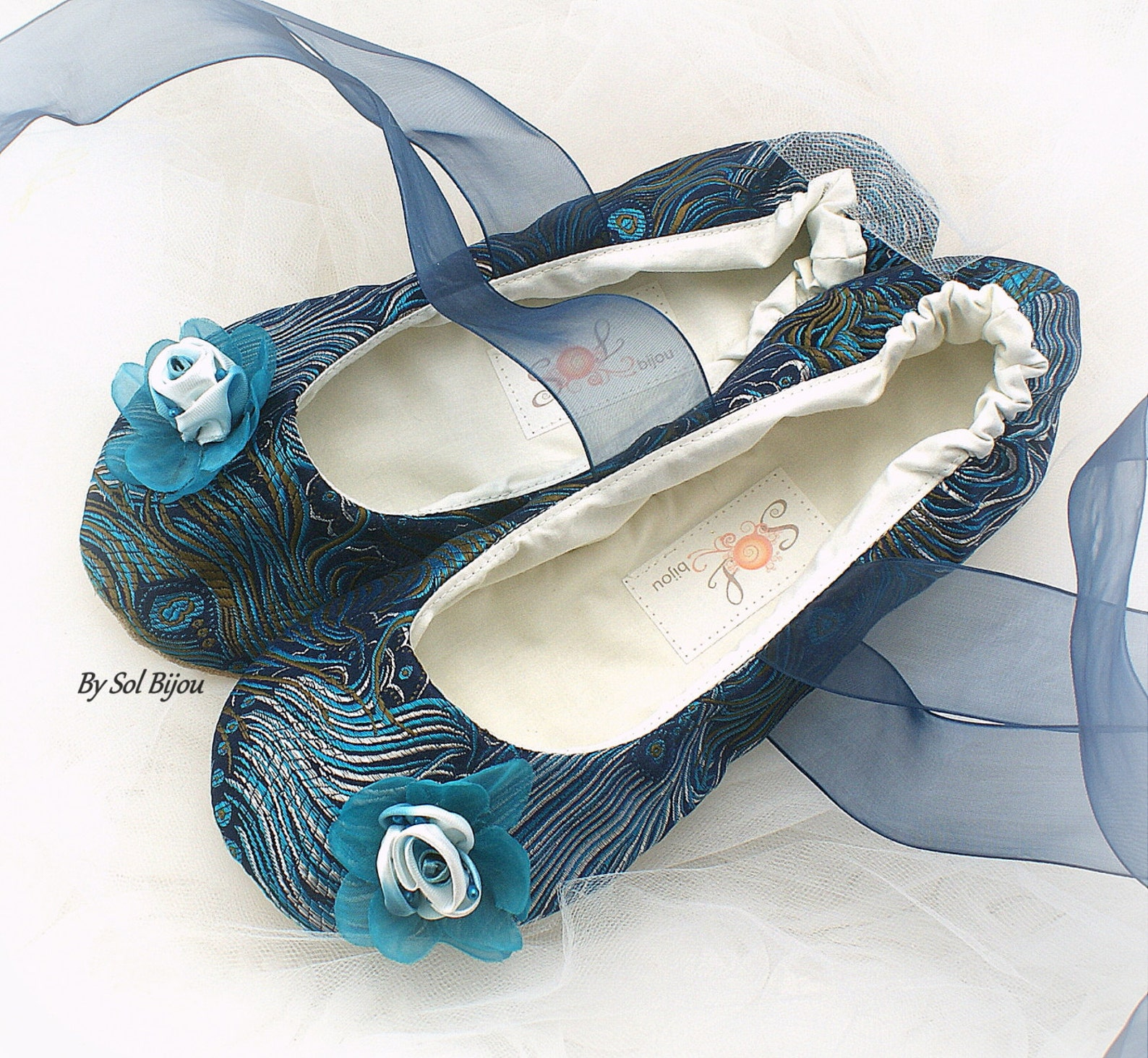 wedding ballet shoes peacock navy blue turquoise bridal ballet slippers