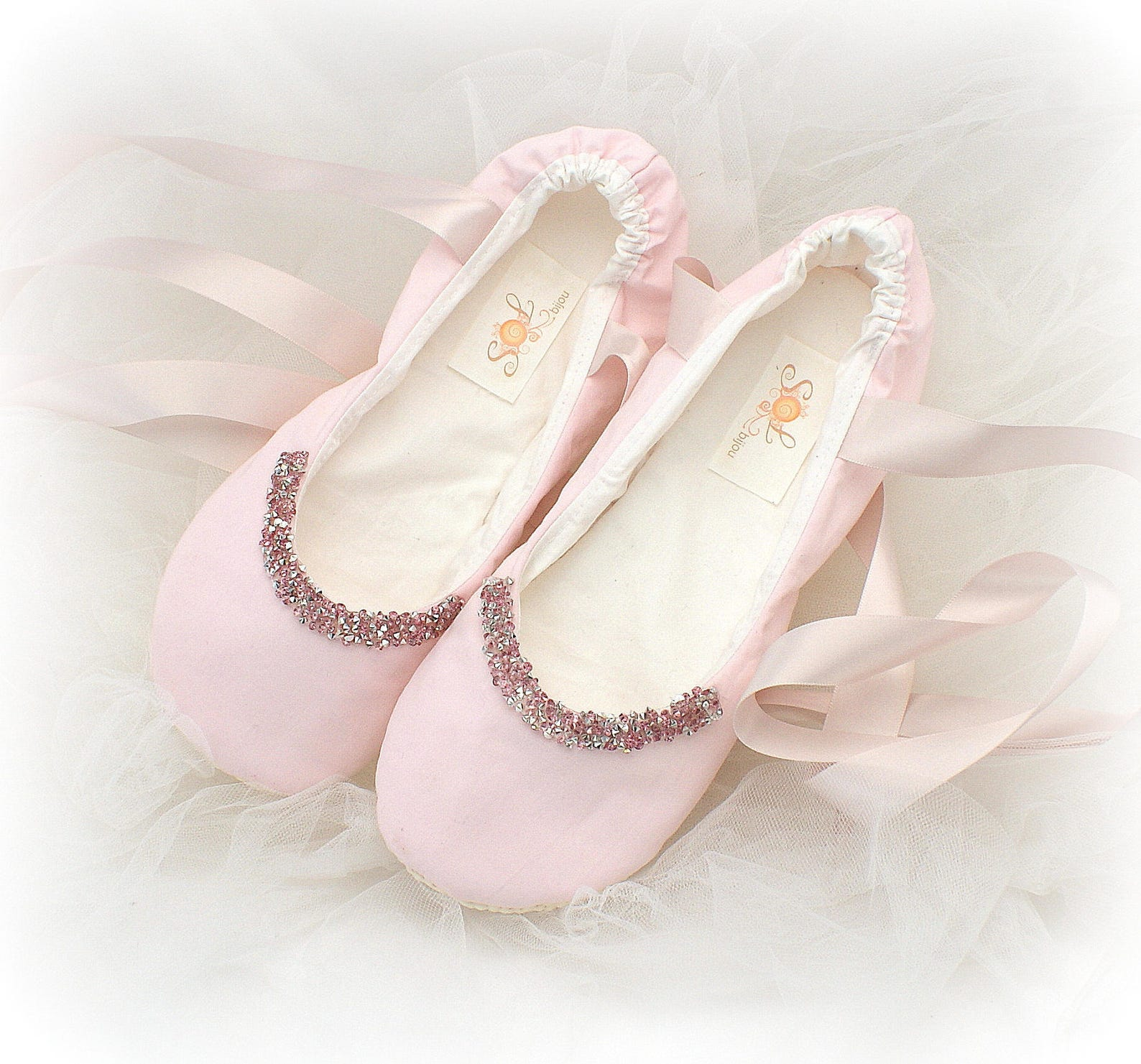 pink wedding flats shoes with ribbon for women custom cotton ballet slippers
